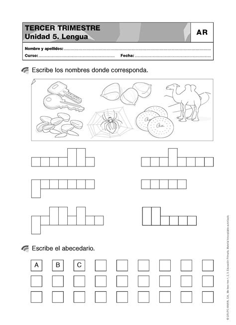 Lengua para primer grado: Refuerzo 3 - Material de Aprendizaje