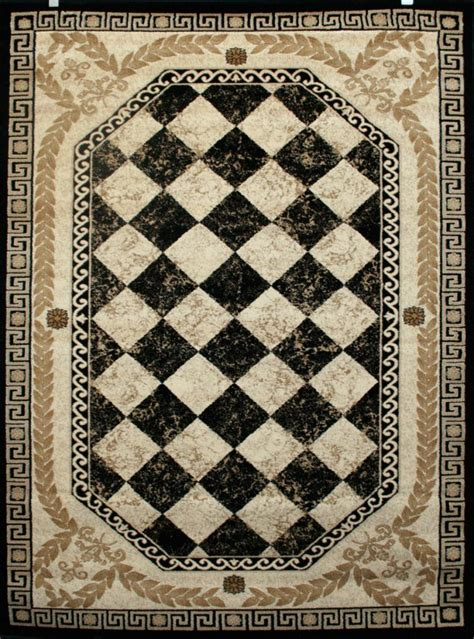 0548 Black Beige Ivory Burgundy Diamond Print Quality Area 8x10 Black Area Rug