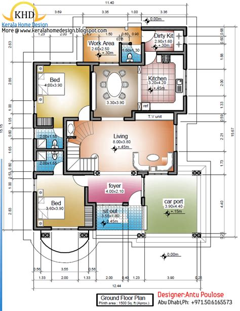 kerala home design below 1500 sq feet 1500 square feet house plans in kerala home deco plans