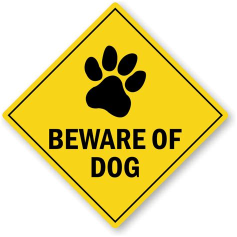 beware of beware of warning label with paw graphic sku lb 2729