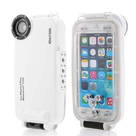 Waterproof White Iphone 6 Plus waterproof underwater housing diving phone bag for