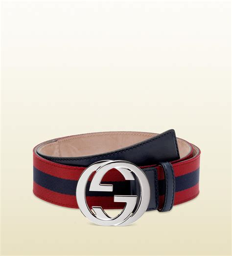 lyst gucci belt with interlocking g buckle in blue for