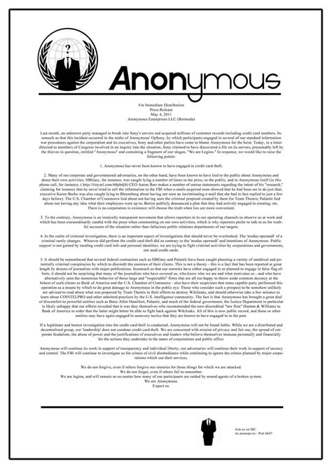 card anonymous anonymous denies sony psn quot we are legion quot calling card