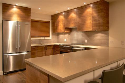 black walnut grain matched modern kitchen vancouver