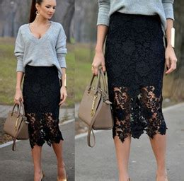 Lace Flower Midi Pencil Bodycon Skirt Rok Black Hitam Brukat Brokat Cheap Black Pencil Skirt Free Shipping Black Pencil