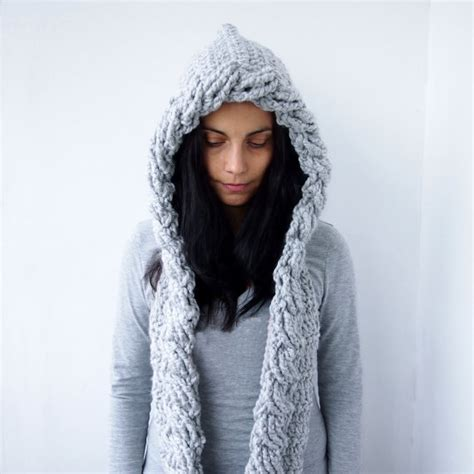 pattern crochet hooded scarf crochet pattern hooded scarf cable pixie hood bulky woman