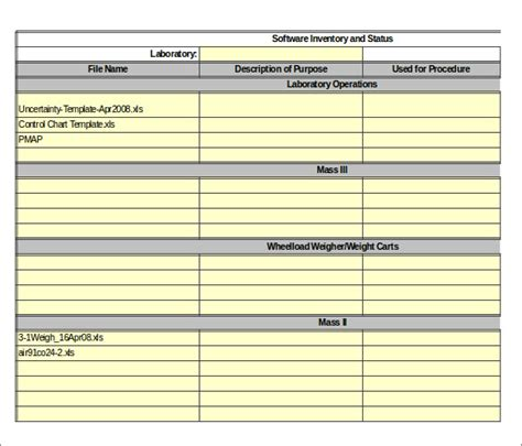 software inventory excel template 15 server inventory templates free sle exle