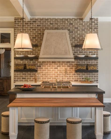 Kitchen Brick Backsplash by Kitchen With Brick Backsplash Cottage Kitchen