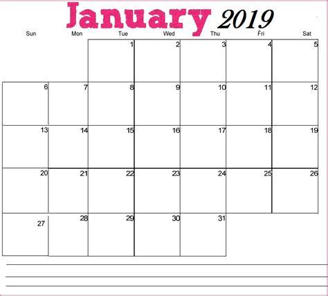 printable calendar january 2019 printable january 2019 calendar latest calendar