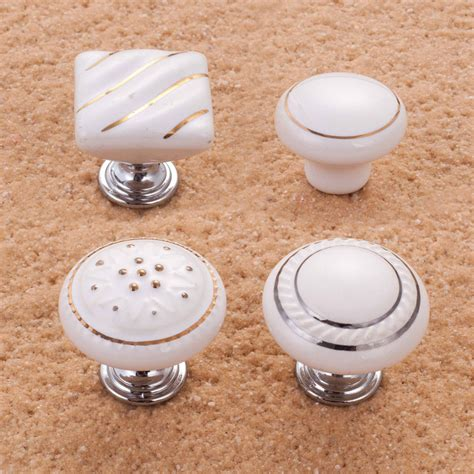 sale 10pcs white ceramic knobs kitchen cabinet door