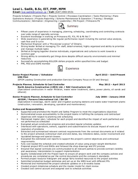 Construction Planner Resume Sles Resume Senior Projects Planner Schedule
