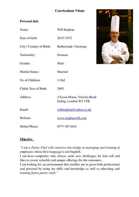 resume format for chef de partie professional chef de partie cv exle vinodomia