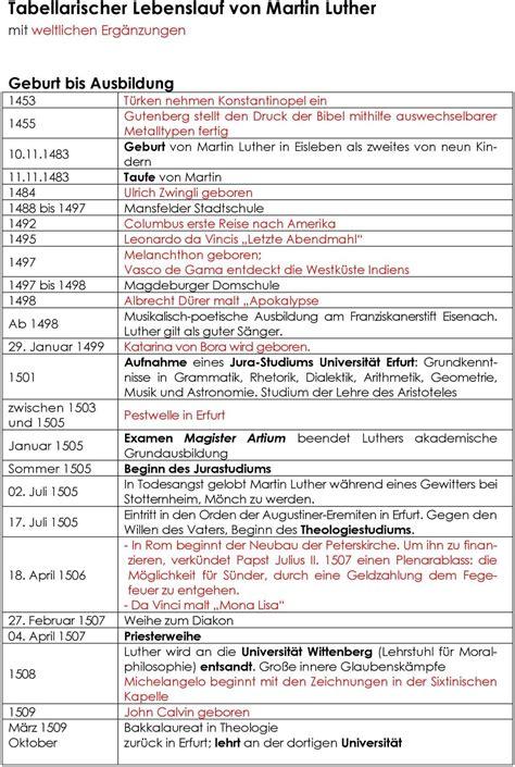 Lebenslauf Darstellung by Martin Luther Lebenslauf Geogrophische Darstellung Martin