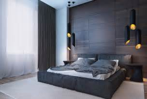 Dark Wood Wall Paneling the bedroom uses a large dark wood accent wall that takes the place of