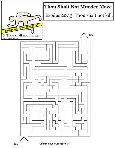 maze printable version thou shalt not murder maze for ten commandments