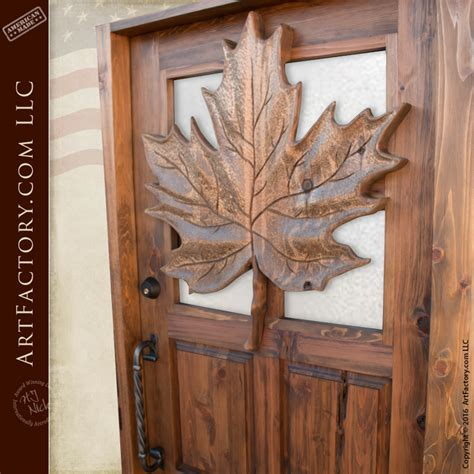 Carved Maple Leaf Theme Wood Door: Custom Solid Wood Front