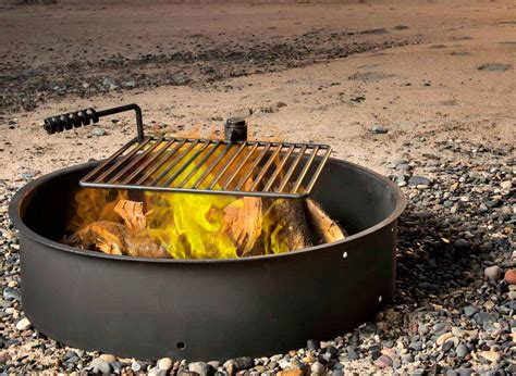pit ring with grill 24 quot 32 quot 36 quot steel ring w cooking grate cfire pit cing park grill ebay