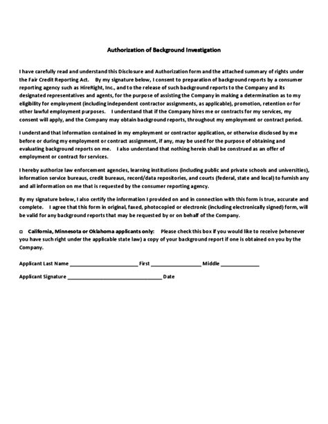 Consumer Disclosure And Authorization Form Michigan State University Free Download Background Check Disclosure And Authorization Form Template