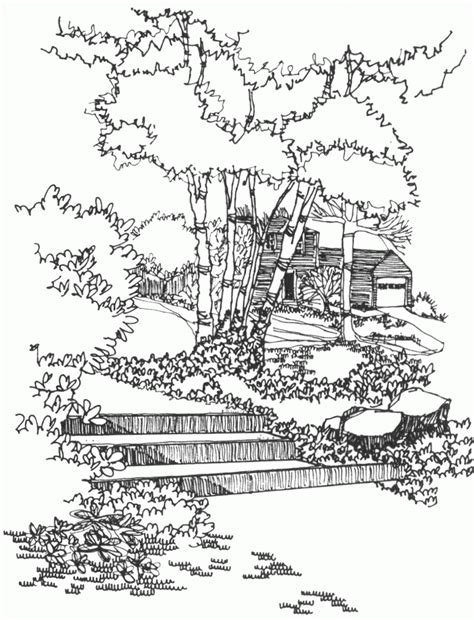 chinese garden coloring pages landscapes coloring pages for adults az coloring pages