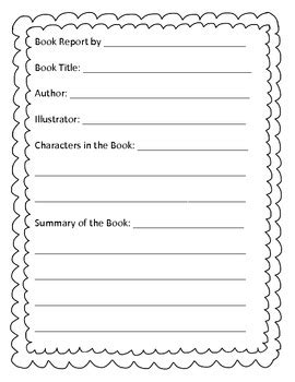 A Book Report Template For Young Readers By Arica Beard Tpt Book Report Template Kindergarten