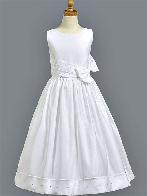 girls white first communion dress satin w rhinestone