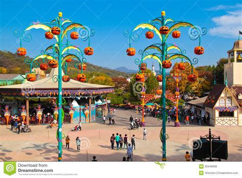 Pumpkin Decorations During Halloween Season Editorial South Park Amusement Park