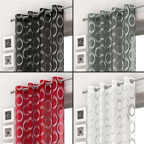 red grey and black curtains silver circles voile curtain panel ring top eyelet net