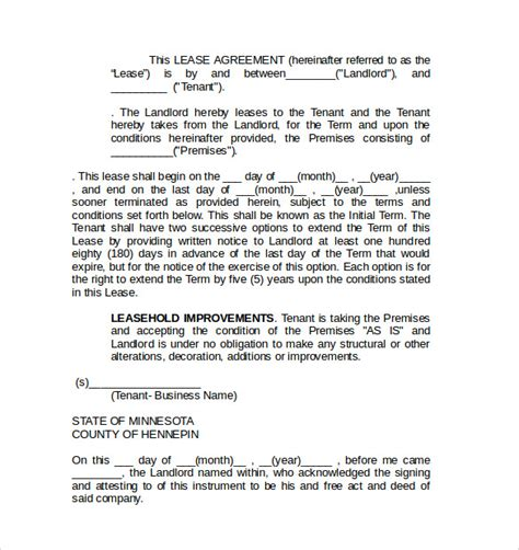 Commercial Agreement Template by 8 Commercial Lease Agreement Templates Sles