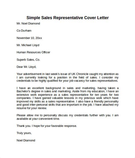 sales representative cover letter template sle cover letter template 8 free documents