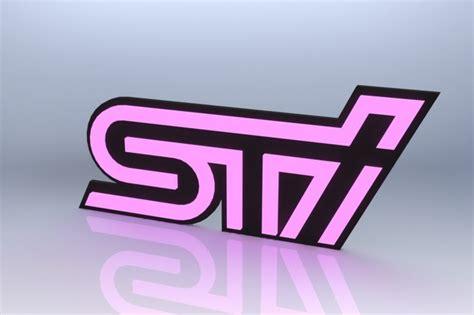 pink subaru emblem subaru sti emblem pink solidworks 3d cad model grabcad
