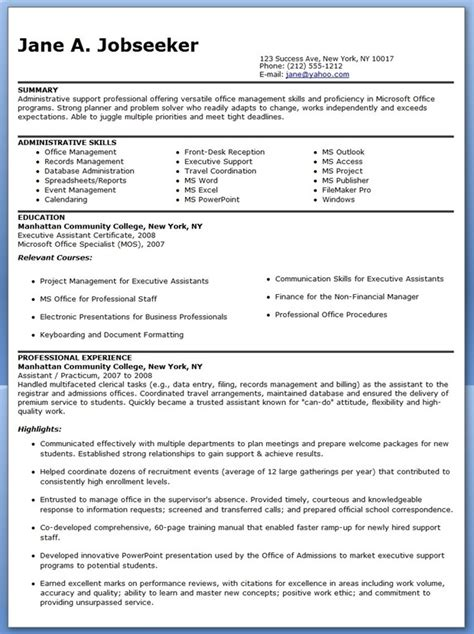 Administrative Assistant Resume Downloads sle resume administrative assistant resume downloads