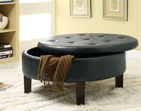 small round storage ottoman wooden high legs gray color large round ottoman with