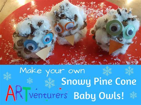 Tippytoe Crafts Pine Cone Snowy Owls - snowy pine cone baby owls artventurers