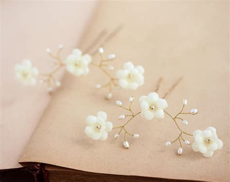 wedding hair flowers pins ivory flower hair pins pearl hair pin ivory wedding hair