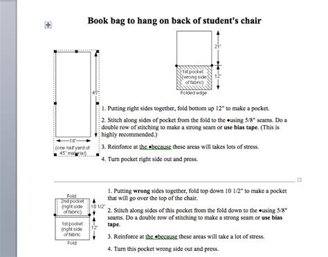 pattern for kindergarten chair pockets seat sack pattern classroom pinterest