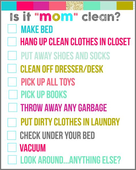 make clean is it quot mom quot clean bedroom checklist printables a girl