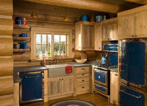 Cabin Kitchen Design Rustic Kitchen The Blue Retro Appliances With The Log Wish List Pinterest Cabinets
