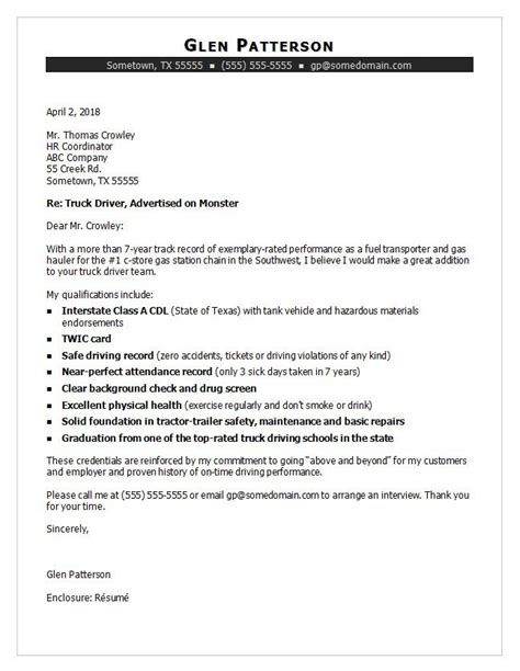 seo cover letter truck driver cover letter sle