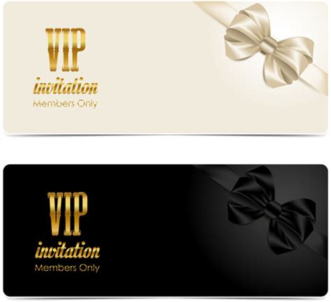 Vip Invitation Card Template by Beautiful Bow With Vip Invitation Card Vector 04 Vector
