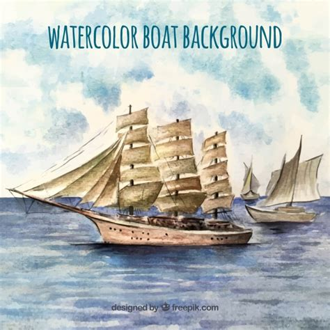 old boat vector watercolor background with old boats vector free download