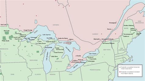 map canada us border the borderline indigenous communities on the