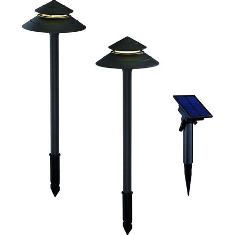 solar lights with remote solar panel hton bay solar black outdoor integrated led 2 tier