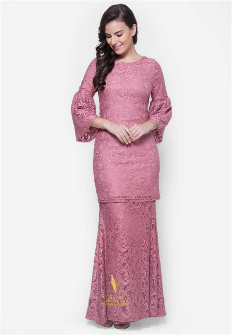 baju kurung moden lace vercato nora in dusty pink buy