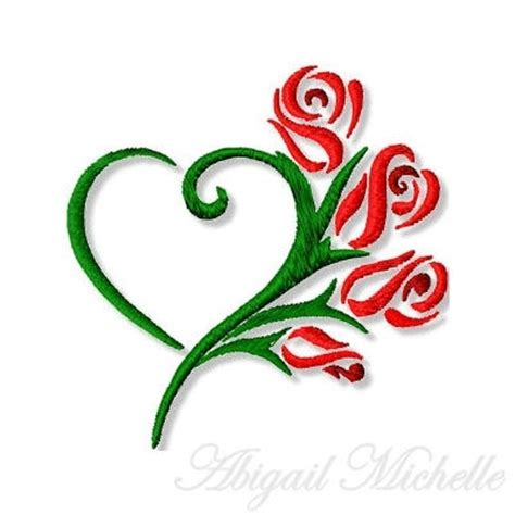 rose with heart tattoo stem shaped like with roses coming this would