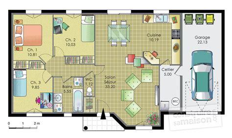 plan pavillon 100m2 pavillon de plainpied d 233 du plan de pavillon de