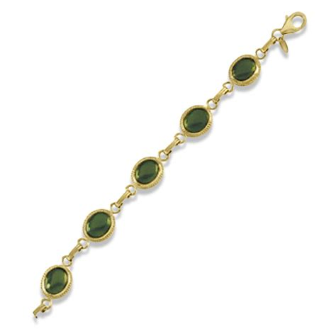 Green Jade Oval Gemstone oval green jade link bracelet cabochon bezel set 14k