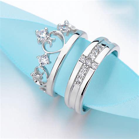 prince princess silver rings wedding band his