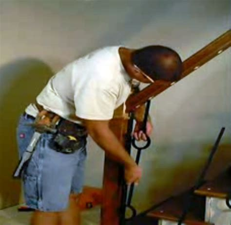 installing banister installation wood stairs