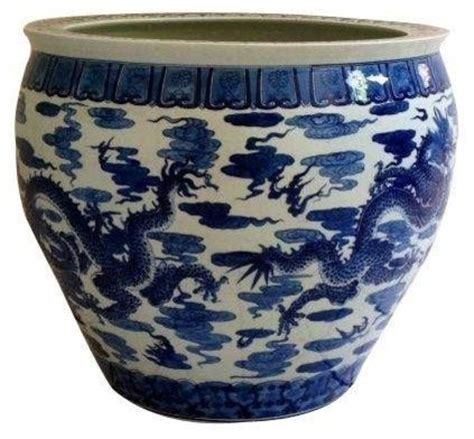 blue and white planters pre owned large asian blue white ceramic planter asian indoor pots and planters