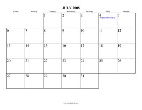 July 2008 Calendar 2008 Calendar July Www Proteckmachinery